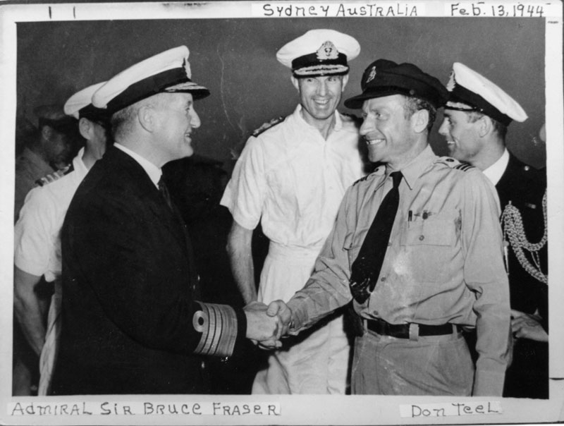 Photo: The very energetic RAFFC Capt. Don Teel, mentioned many times in the book, shakes hands with Admiral Sir Bruce Fraser. This photograph, supplied to my father by Capt. Teel, was taken in the South Pacific in 1944.