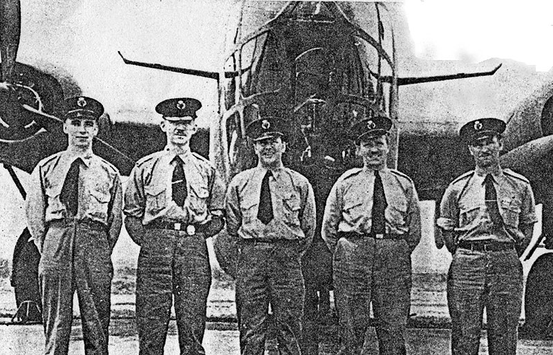 Photo: Ferry Command aircrew Reeves, Fred Johnsen, Capt. A.J. Lilly, F. Baillie, Gail Swaney