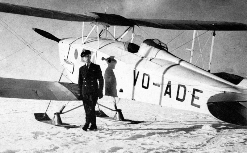 Photo: One of Ferry Command's ski-equipped search and rescue deHavilland Moth, with Captain Joe Gilmore ready to fly out from the Gander base.