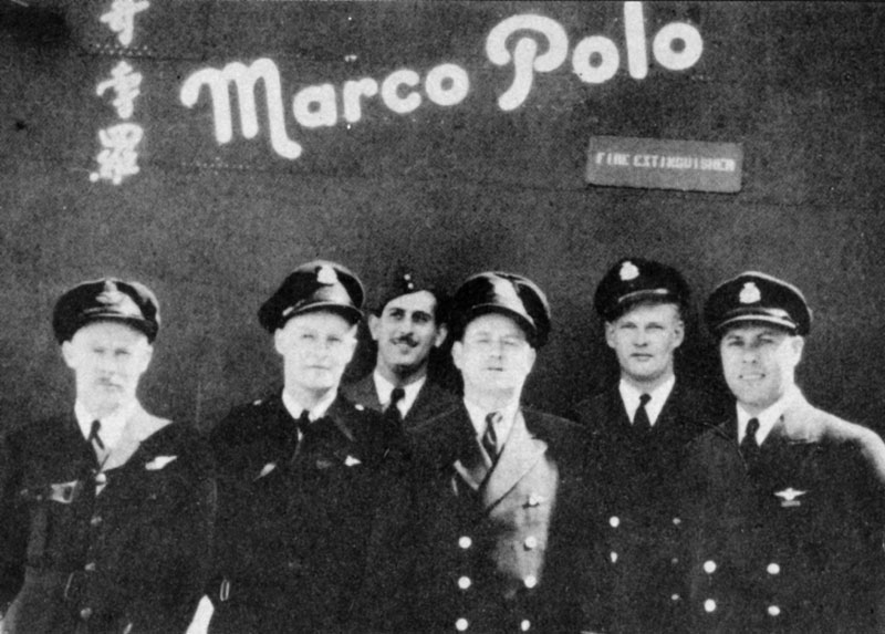 Photo: Crew of the Marco Polo�From left, Flight Lieutenant H. J. Farley; Flight Engineer A. Wright; Flight Officer A. Colato; Radio Officer C.P. Meagher; First Officer E.C. Abbott; Capt. George P. Evans OBE.