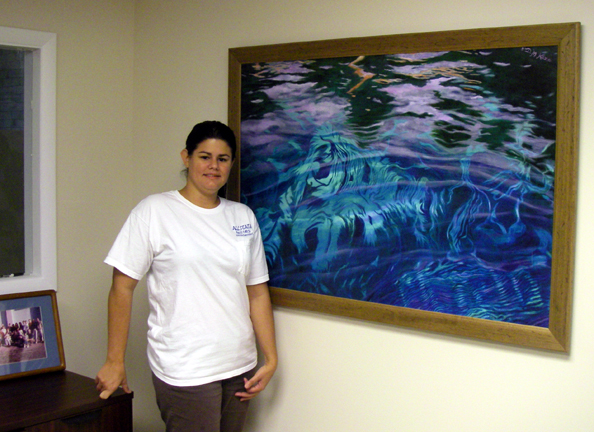"Allstate Resource Management employee Lari with large ""Silver River: Depths & Reflections"" giclée"